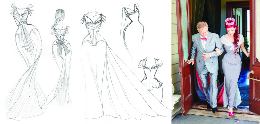 Sketchbook excerpts as I designed my wedding gown (seen on the right).