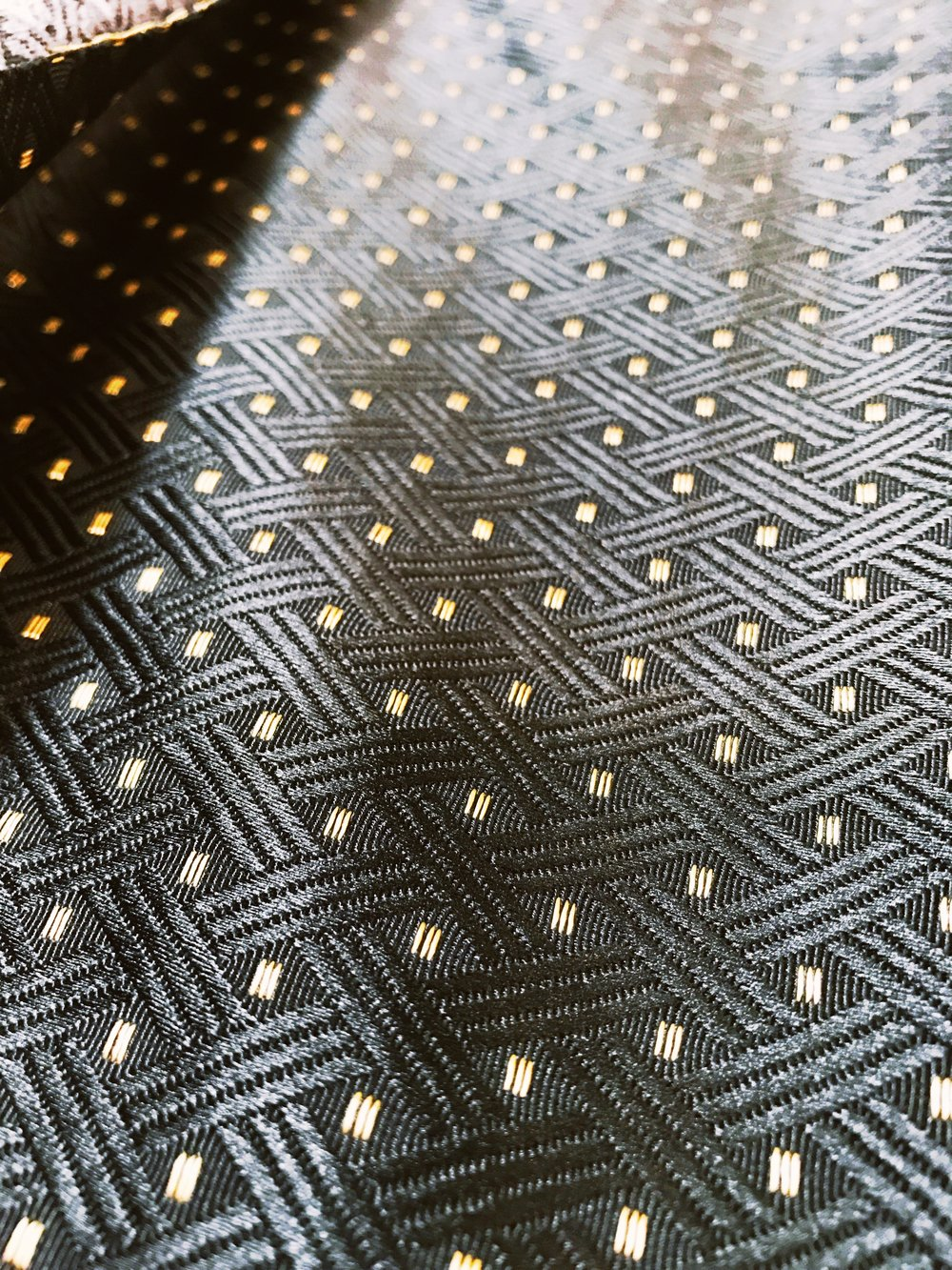 Geometric jacquard in black/gold – limited edition fabric; $75 extra; includes floating lining.