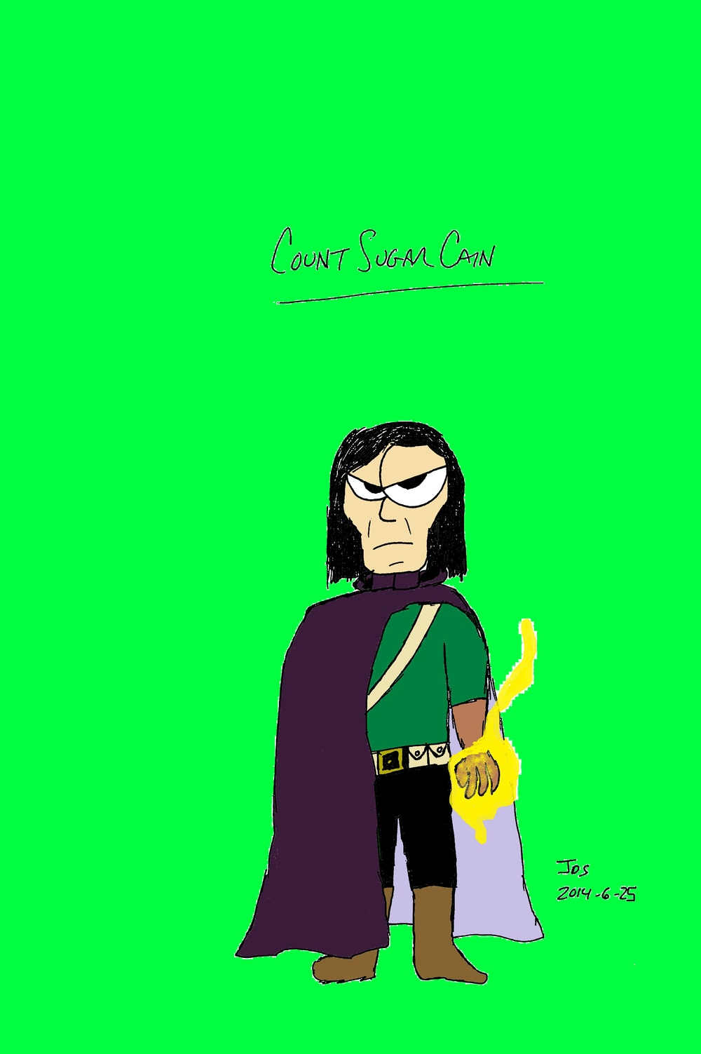 COUNT SUGAR CAIN - He's a sorcerer, so that's what that yellow blob around his hand his. I went with a purple cloak because it felt more regal, while Sugar Cain's clothes help him blend into the forest where he...oh, I've said too much.