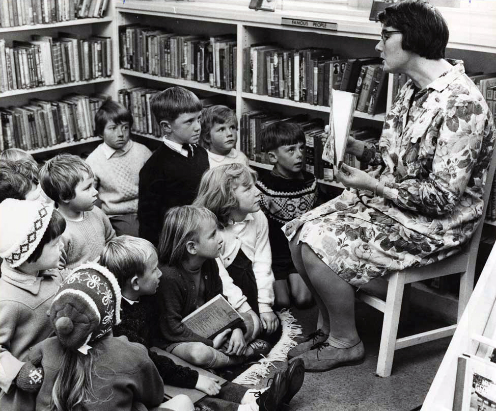 Storytime at the Library with Margaret McPherson (Children's Librarian). Canterbury Public Library, May 1968.  Christchurch Star Collection, CCL-Star-525.