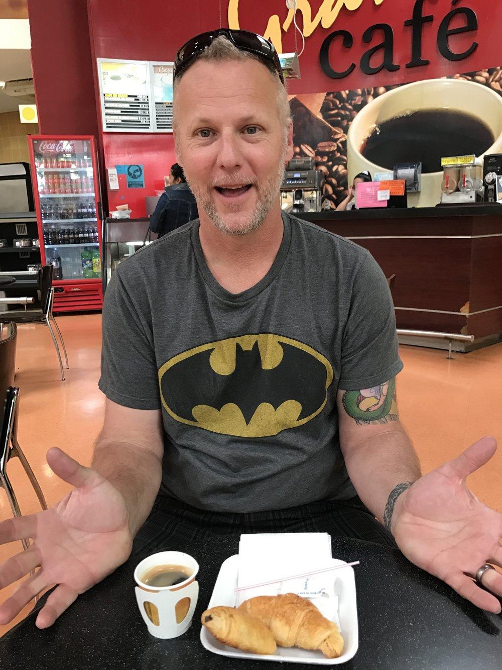 His espresso & pastery pre-breakfast