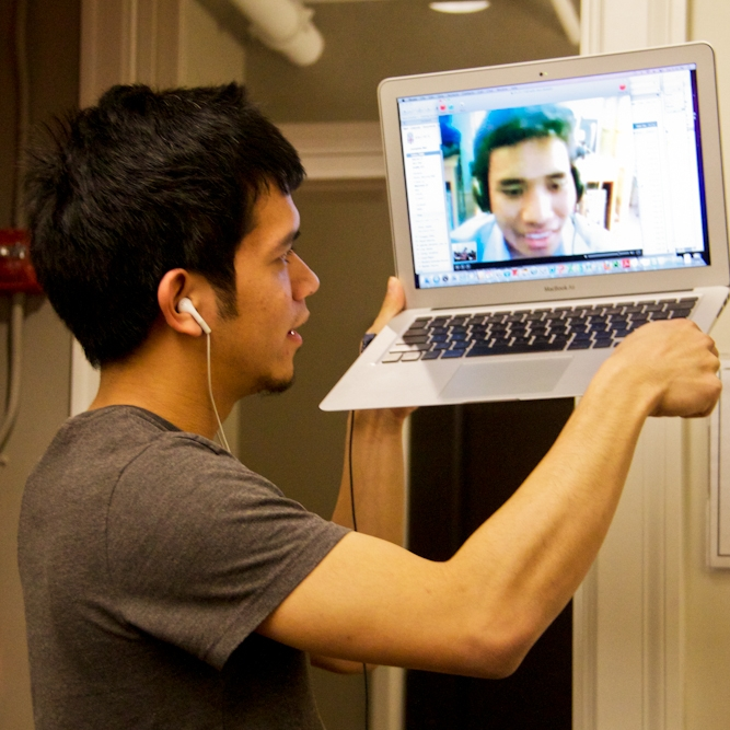 Lloyd, a student at Brown University, Skyping with Domdin, a trainee teacher in Siem Reap