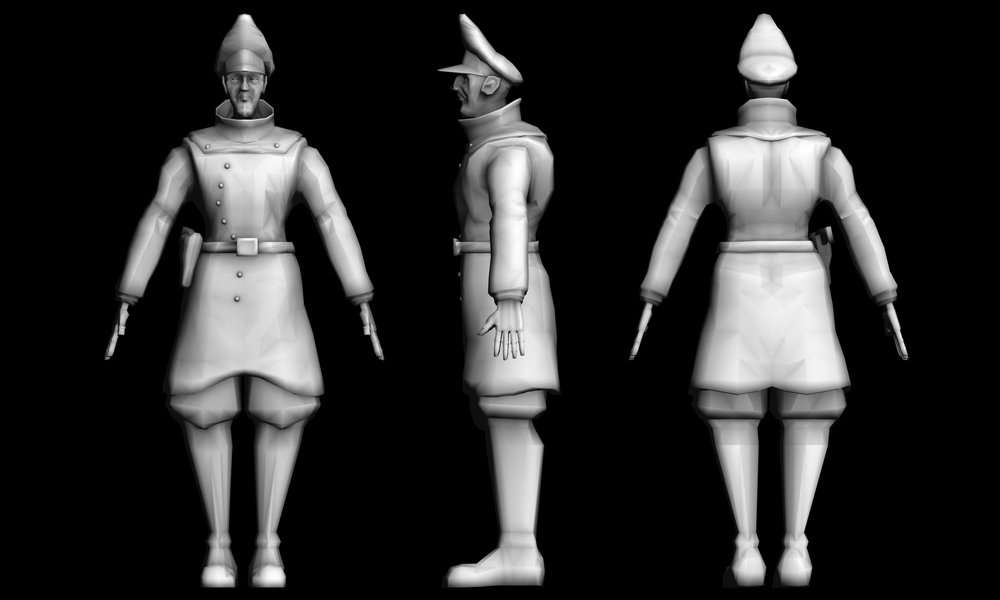 German Officer character model