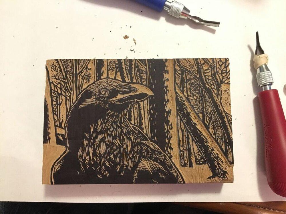Raven in Winter linocut block