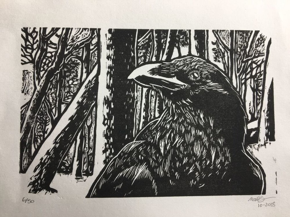 Raven in Winter - print