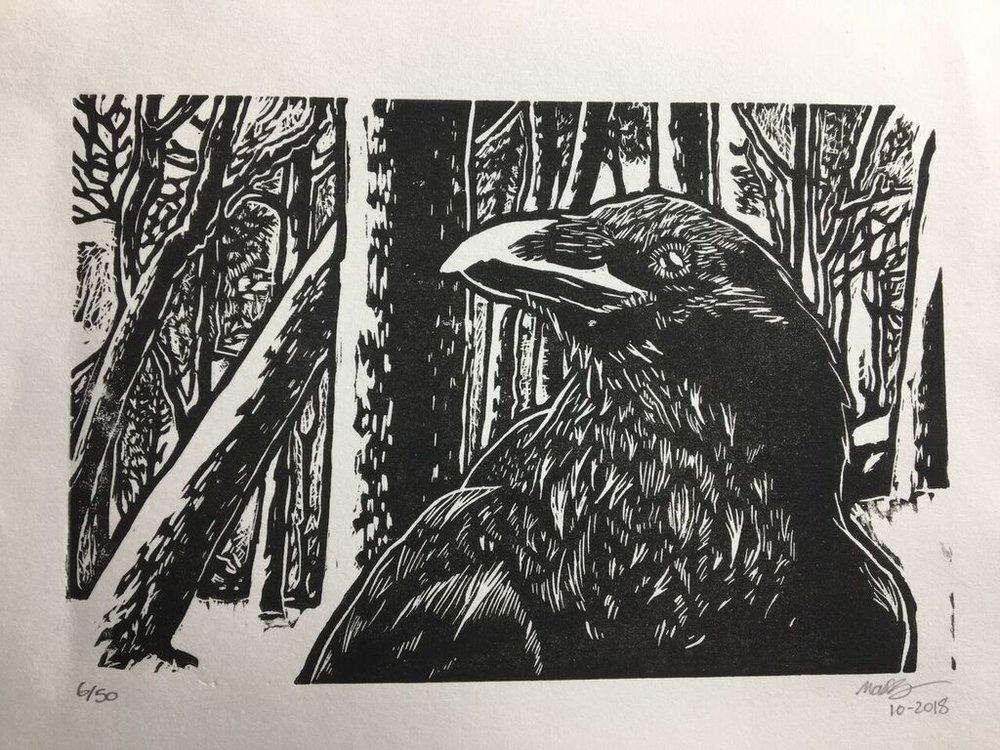 Raven in Winter - print