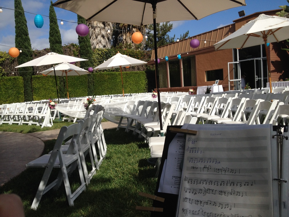 The musician's eye view of the ceremony. Nice and shady!