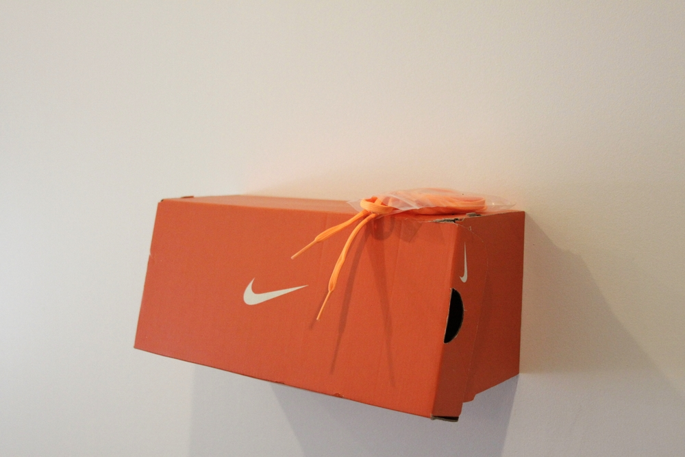 "detail  Athletic Orange  adidas Indoor Soccer Shoes, Nike shoebox, adidas shoelaces 62"" x 18"" 2015"