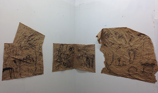 One Story in Four Parts  (with audio) performance, charcoal on paper 2015