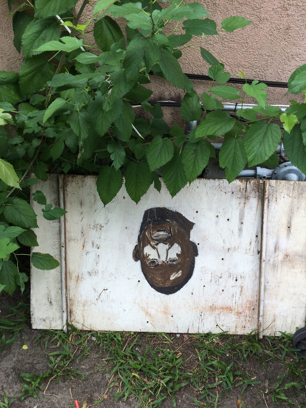 This unfinished, hand painted portrait was left abandoned next to some garbage cans on 38th Street. Hand painted signs are a classic symbol of Savannah culture.
