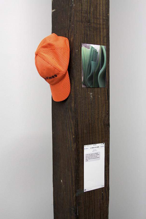 Hat Tree , hat on post, printed image of text message, printed image of foam, 2015