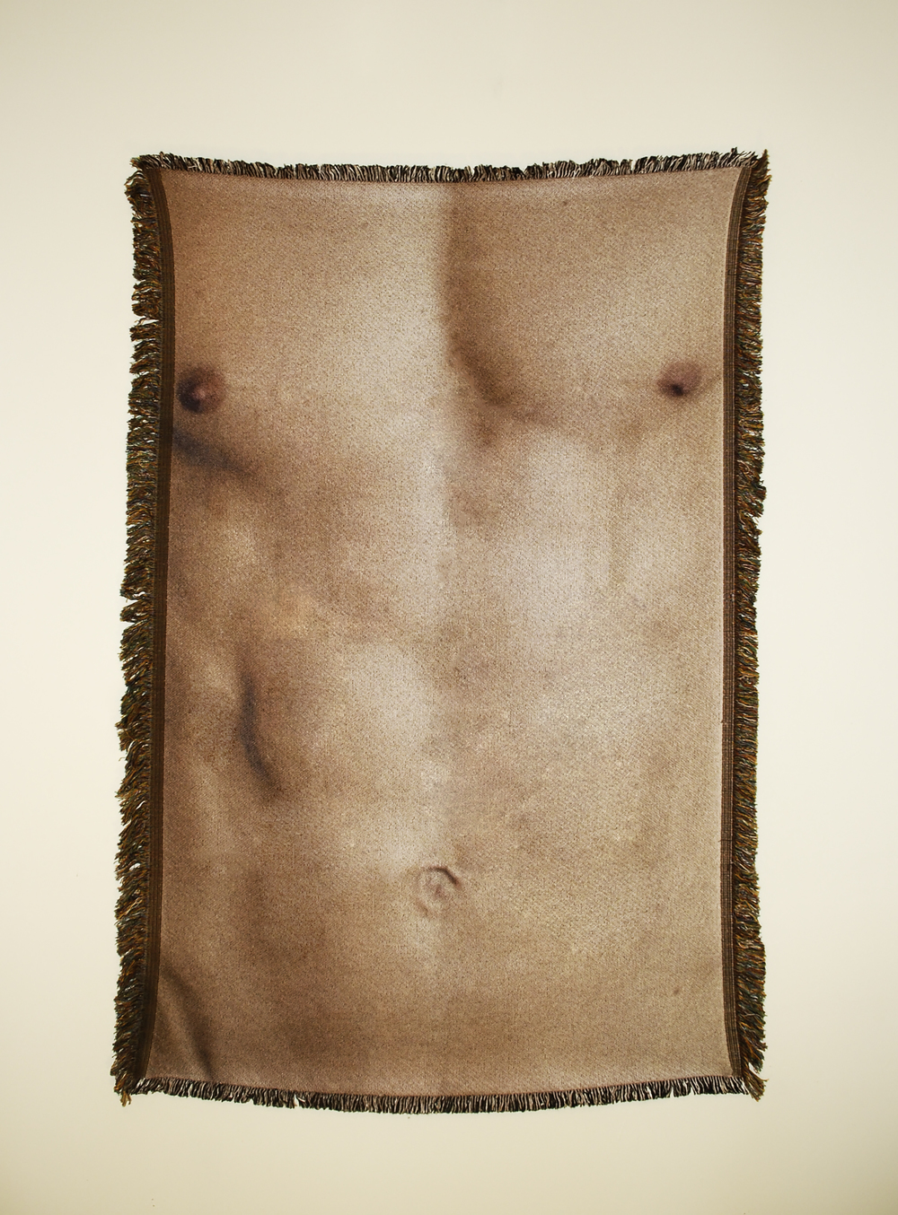 "Untitled (Cis-male 2)  54"" x 38"" photo-sublimated woven blanket"