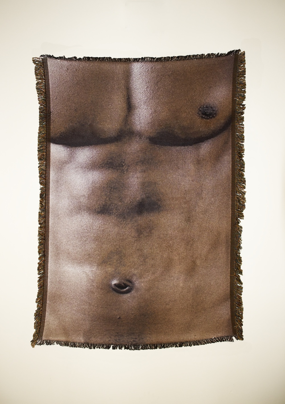 "Untitled (Cis-male 4)  54"" x 38"" photo-sublimated woven blanket"