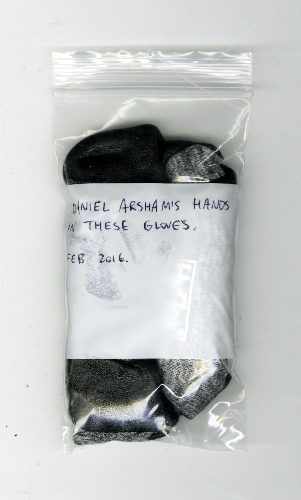 Daniel Arsham's hands in these gloves. Feb 2016. , rubber coated work gloves, bag, 2016