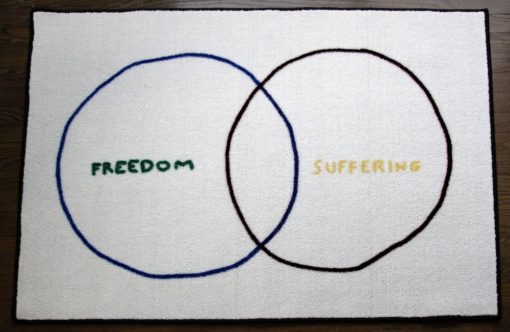 "Freedom and Suffering , 2017, digitally printed floor mat, 48"" x 36"""