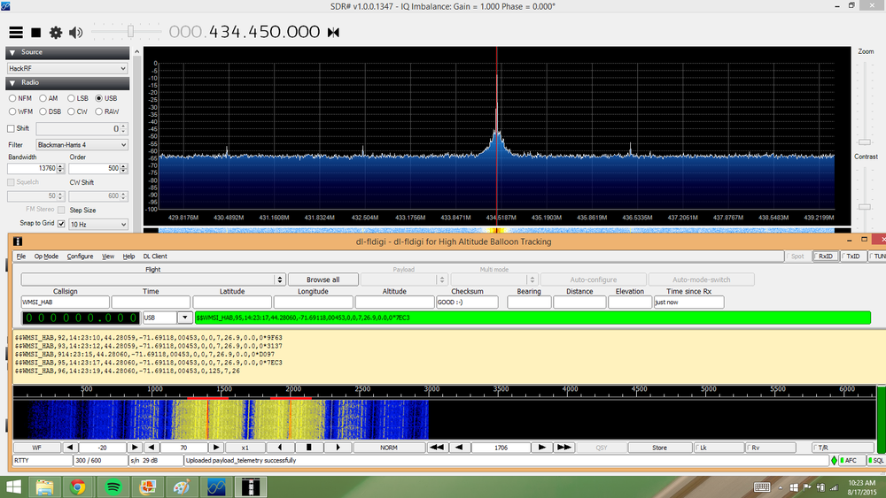 SDR# and dl-fldigi working together. SDR# is on the top with the radio signal, and dl-fldigi is at the bottom decoding this signal into telemetry data. The green stripe means it received the data correctly.