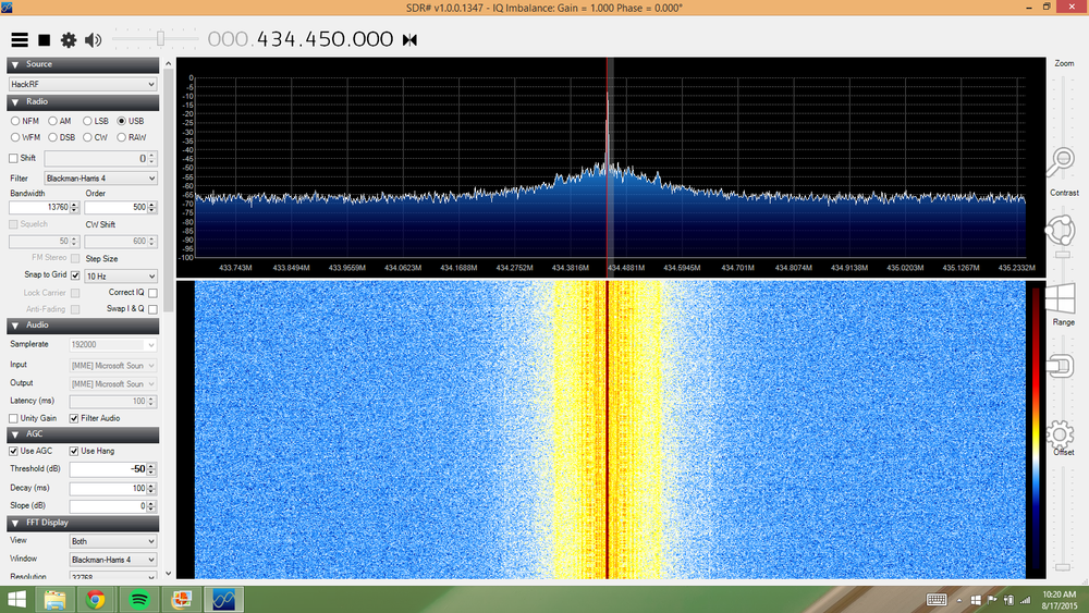Screenshot of SDR# working with the HackRF One being used as the radio. The peak in the middle of the screen is the signal from the Pi in the Sky.