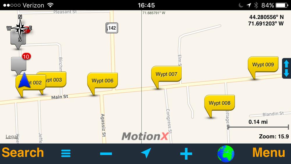 GPS waypoints used to measure transmission range.