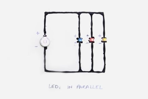A parallel circuit: Each LED is like a baseball game. Charged particles are the players. Any one charged particle only has to go through one LED to finish the circuit