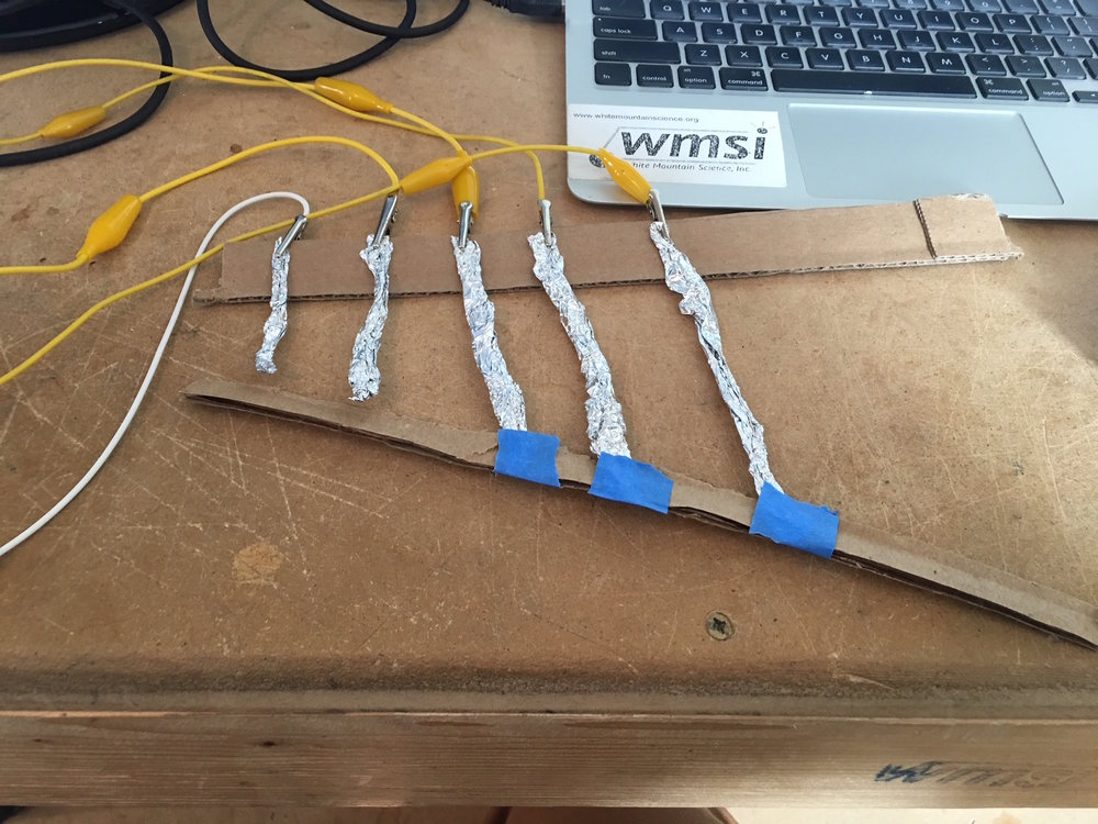 One of my projects in my first few days at WMSI, utilizing Makey Makey to build a guitar!
