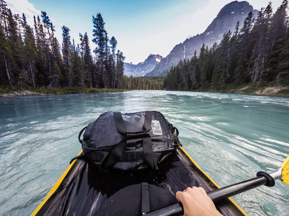 @PhotoJBartlett packrafting the Mistaya River in British Columbia.
