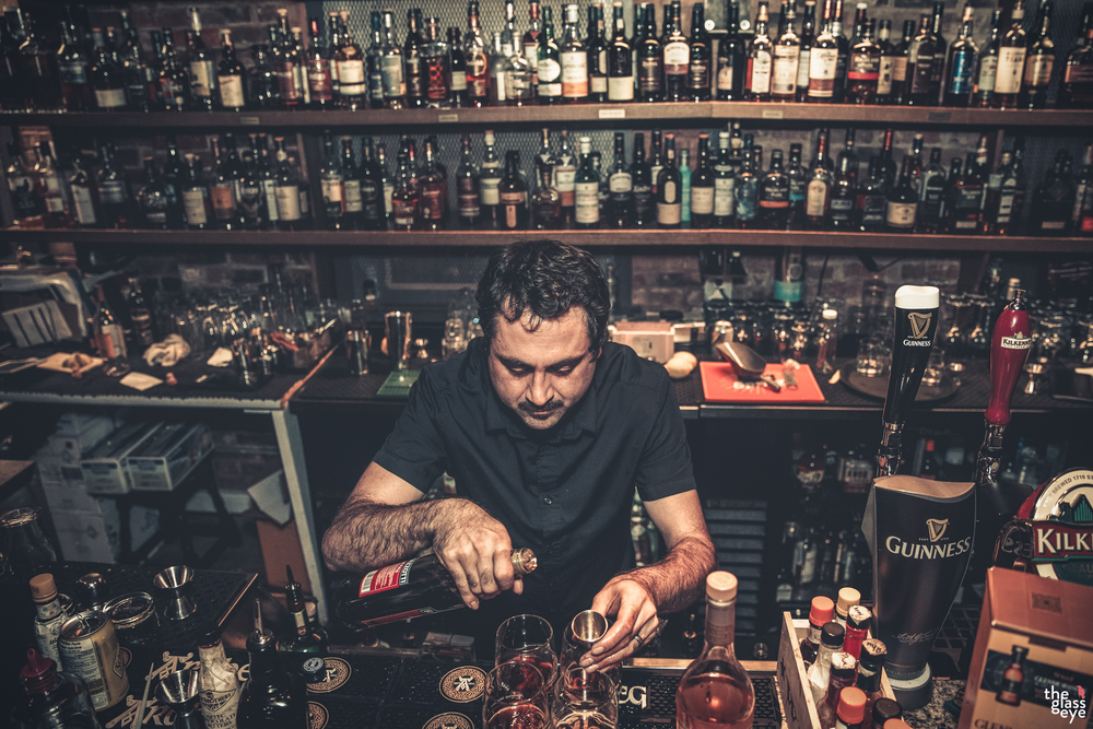 Pictured is bartender extraordinaire Randy Gaudreau aka @whiskeydrummer crafting a few Wiseman cocktails behind the bar at Shebeen, a whisky list which he has been the mastermind behind and expertly curated for the past several years!