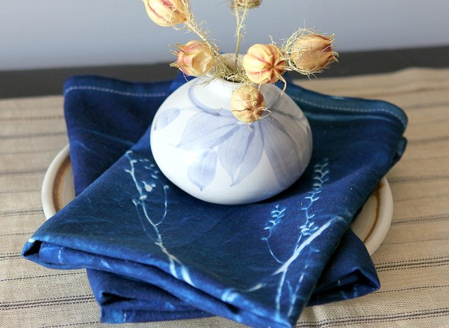Print with nothing put sunlight and flowers to create unique & beautiful napkins with cyanotype!