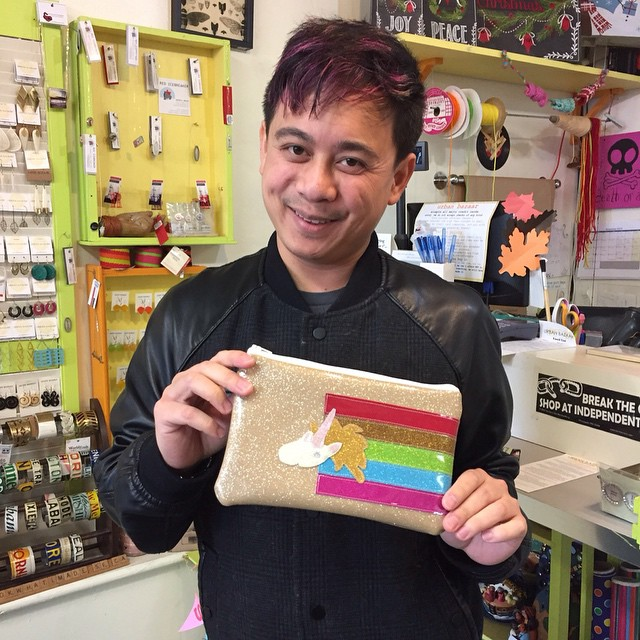 we got to meet the #amazinglytalented and #awesome @karlthefag as he added a #glitteryunicorn pouch by @sincesass to his collection of #handmadeawesomeness.  #sf #sanfrancisco #handmade #madeinsanfrancisco #madeinsf #madeinca #madeinusa #menwhoknit