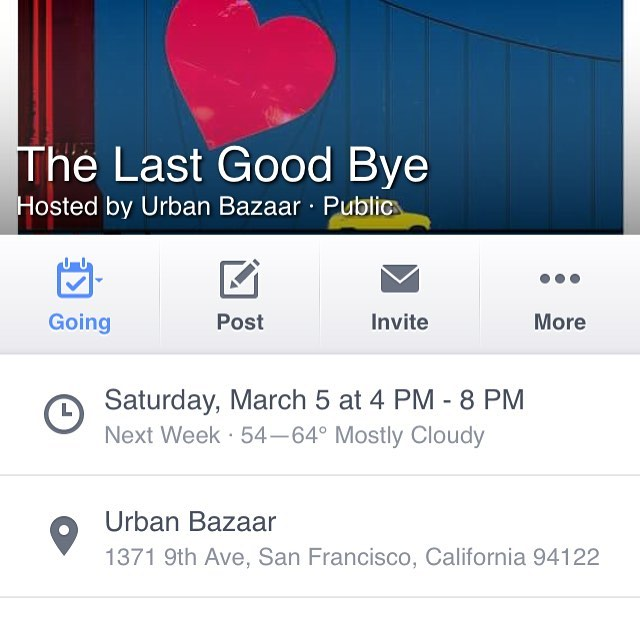 #thisisreallyhappening.  please come and party with us, #onelasttime at #urbanbazaarsf, next saturday, march 5th, from 4-8pm.  we look forward to seeing you all and saying tearful goodbyes.  you will also be able to meet jenn, the #awesome owner of @localtake, who will be carrying on the #handmade torch for the #innersunset.  please pardon the #tears that will be streaming from our faces.  we look forward to seeing you then!  we #love you, #sanfrancisco and will miss you terribly.  #sf #onelasthurrah #endoftheline #timetosaygoodbye #handmadeawesomeness