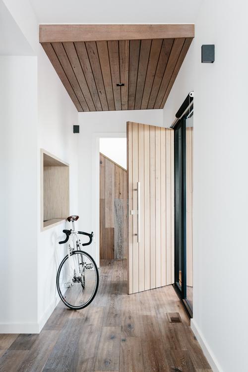 pasillo, diseño, nórdico, blanco, negro, madera, moderno, minimalista, dekoloop