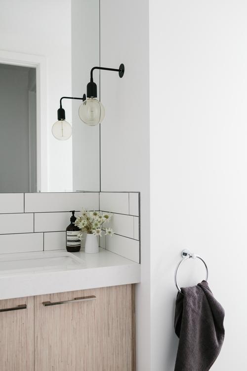 baño, diseño, nórdico, blanco, negro, madera, moderno, minimalista, dekoloop