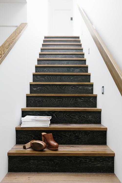 escalera, diseño, nórdico, blanco, negro, madera, moderno, minimalista, dekoloop