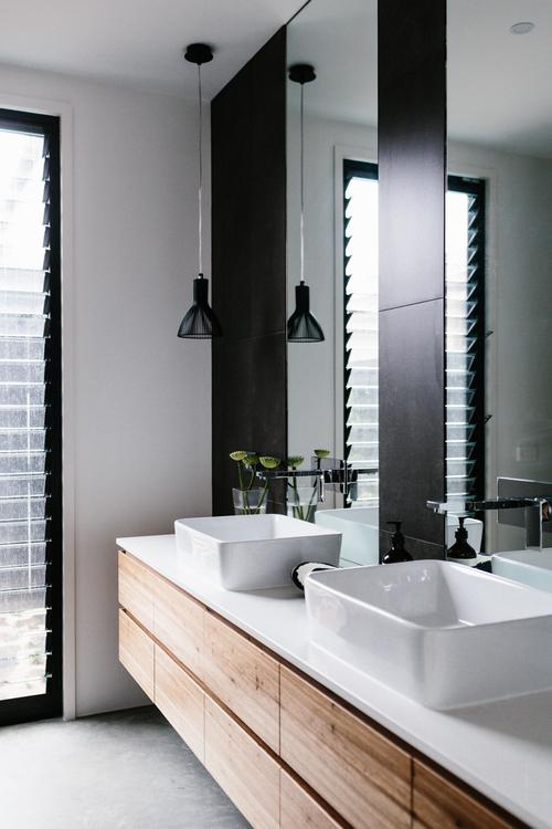 baño, diseño, nórdico, moderno, minimalista, blanco, negro, madera, dekoloop