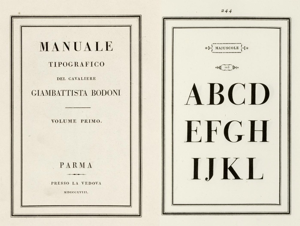 Giambattista Bodoni's Manuale Tipografico