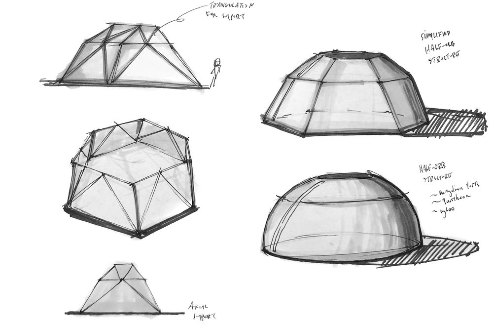 - After form exploration I concluded that the half-orb was most stable for the Nomad. Additionally, I simplified it to a paneled, hexagonal structure with thing beams for additional support.