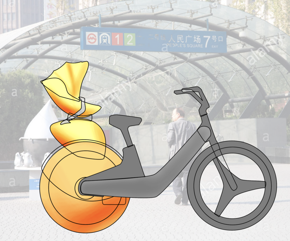 - Also available through sharing platform for suburban riders further from subway system.Folding bicycle that attaches to stroller.Front portion of bike can be returned at station as rider continues journey with stroller.