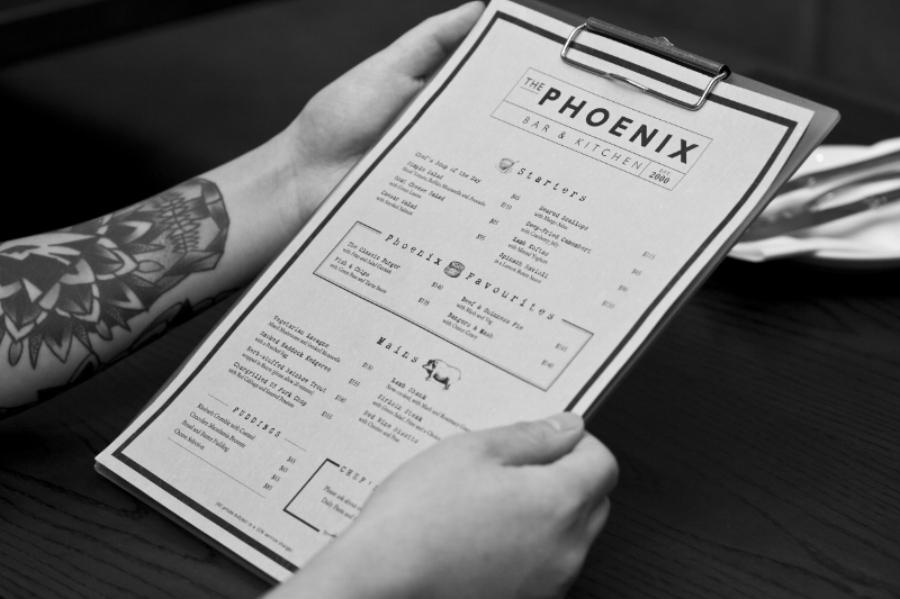 The Phoenix Menu graphic design