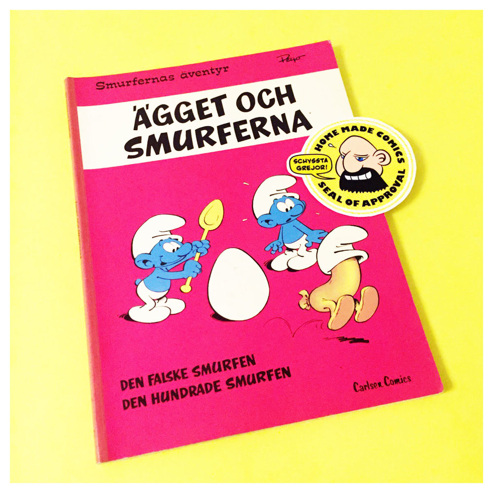 Home Made Comics Seal of Approval #192. Smurfernas äventyr 7 Ägget och smurferna av Peyo utgiven av Carlsen Comics 1979.