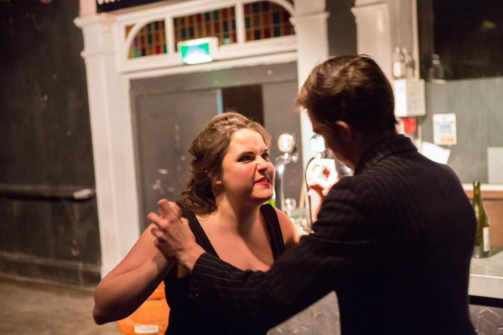 Emily as Lucy Lockit, with Scott Richardson as Mr Lockit in The Beggars Opera (King's Opera, 2012)