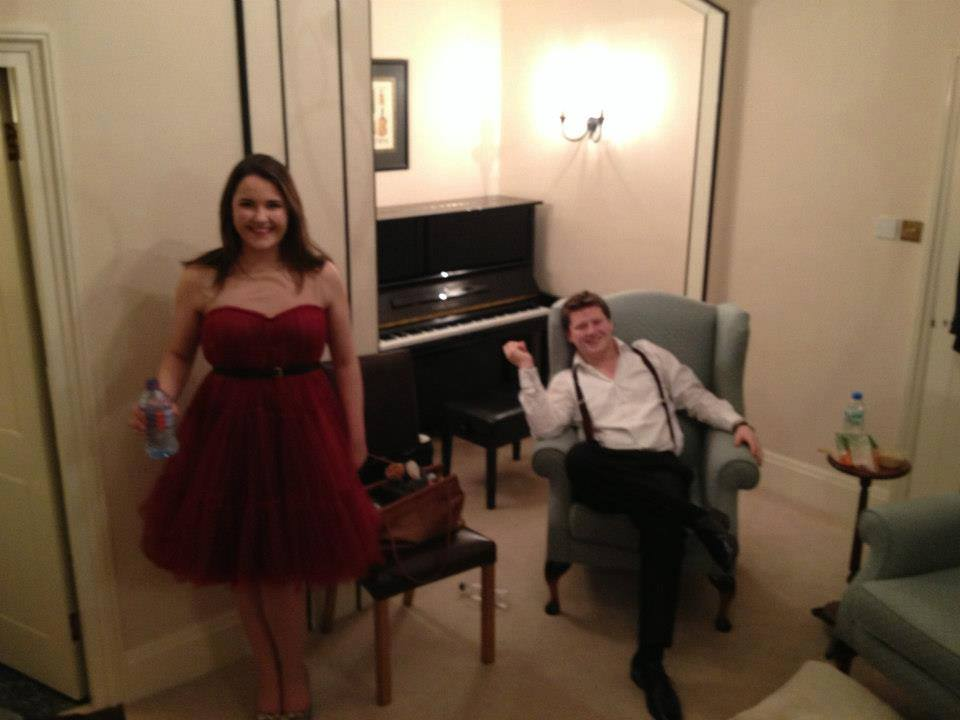 Emily backstage at the Royal Academy of Music, with young baritone Angus McPhee, before performing Mozart's Great Mass in C Minor (2012).