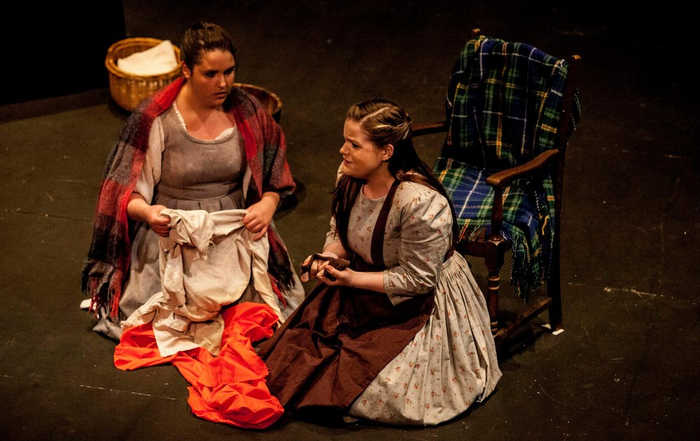Emily as Cathleen in Vaughan-Williams'  Riders to the Sea  (Bute Park Opera, 2014). Pictured with Jessica Robinson (Nora).    www.robtysonknights.com
