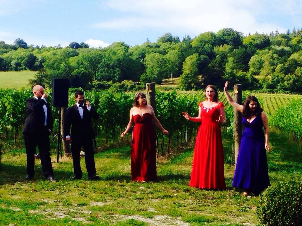 Emily performing in scenes from  Cosi fan tutte  at Albury Vineyard, alongside (left to right) Adam Jondelius (baritone), Gareth Edmunds (tenor), Frances Gregory (soprano) and Sophie Levi (soprano).