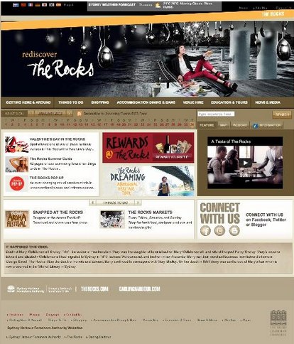 Previous website for the Rocks precinct (pre-2013)