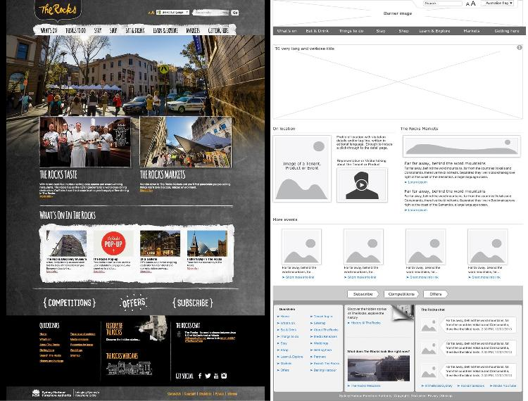 The Rocks home page against wireframes designed by Cognitive Ink.