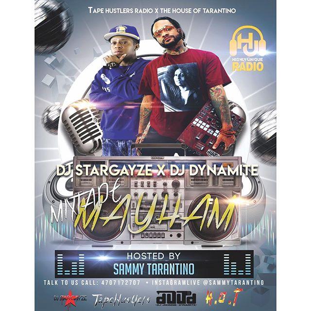#goregousones @djstargayze @its_dynamitefm we LIVE BABY! @highlyunique_radio tonight @9pm #MIXTAPEMAYHAM #welive #atl #director #host #promoter #djs #hot #music #dopeshit #atlanta #radiostation