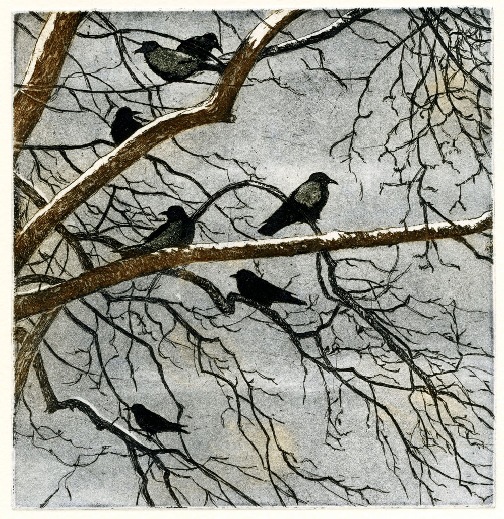 Seven Crows, etching