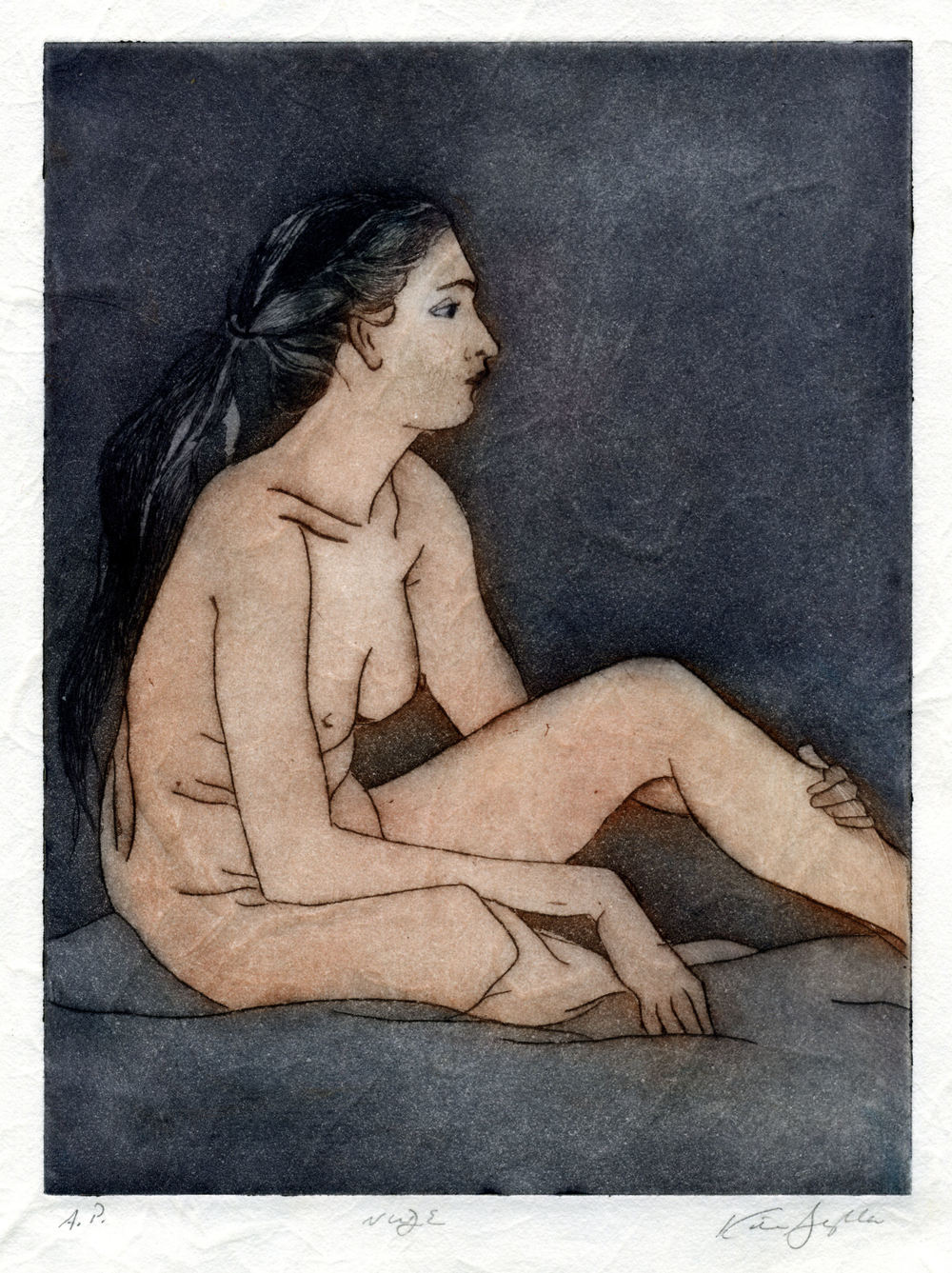 Nude, drypoint etching and chine colle