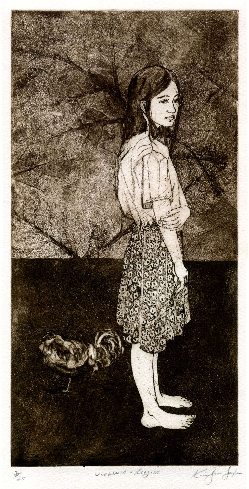 Virginia and rooster, etching