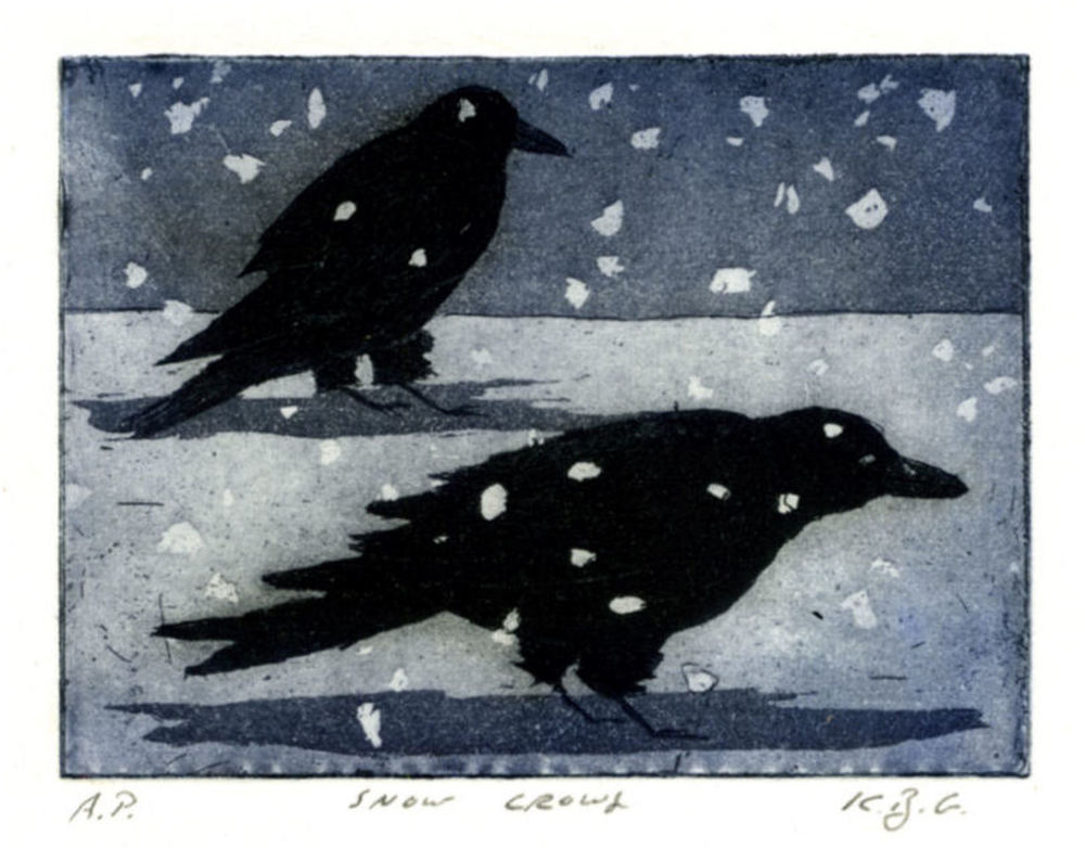 Snow Crows, etching and aquatint