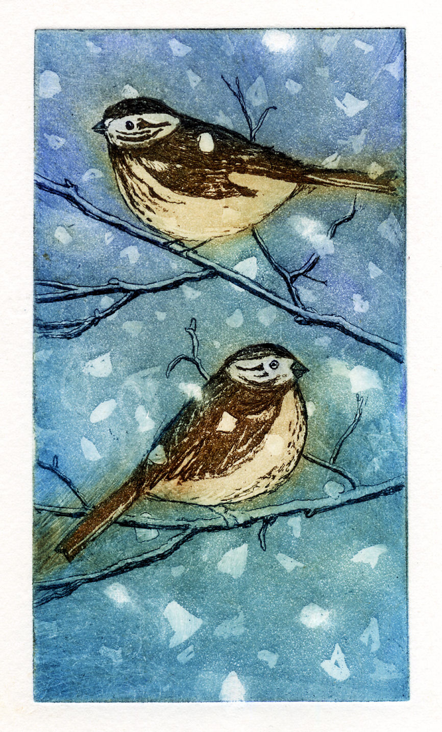 Sparrows in the Snow, etching and aquatintt